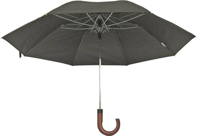 UMBRELLA RAIN 21IN BLK CRV HDL