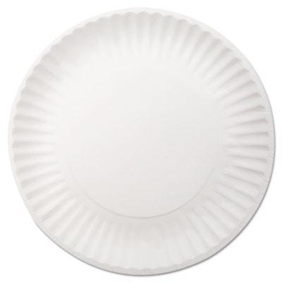 "White Paper Plates, 9"" dia, 250/Pack, 4 Packs/Carton"