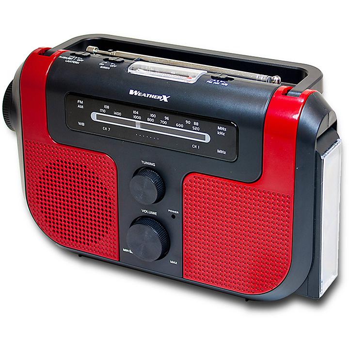 WeatherX AM/FM w/ Flashlight Rechargable batteries hand crank solar charging emegency siren