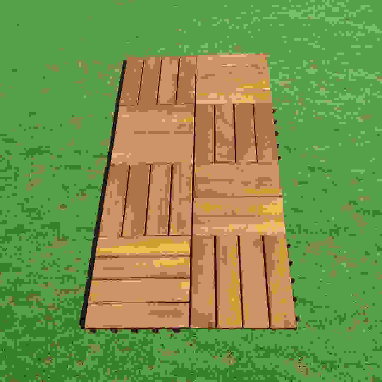 Outdoor Patio 4-Slat Acacia Interlocking Deck Tile (Set of 10 Tiles)