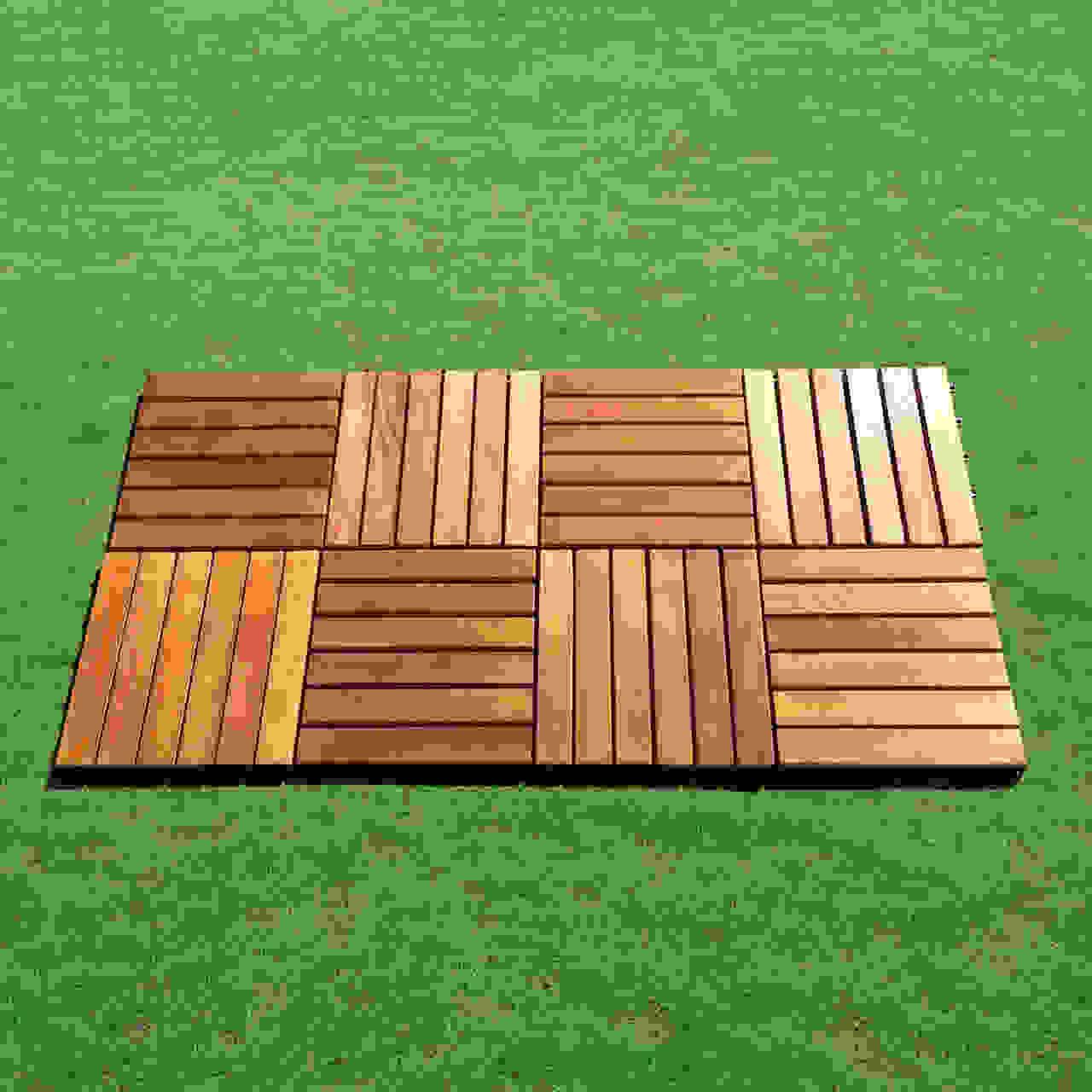 Outdoor Patio 6-Slat Acacia Interlocking Deck Tile (Set of 10 Tiles)