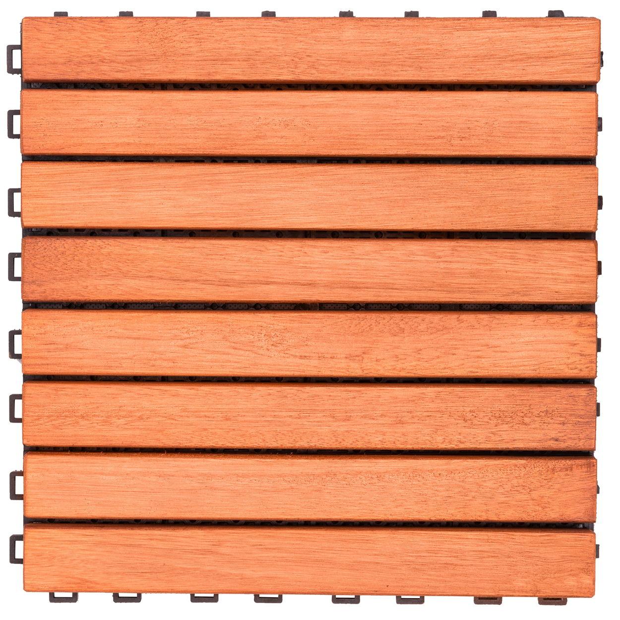 Outdoor Patio 8-Slat Eucalyptus Interlocking Deck Tile (Set of 10 Tiles)