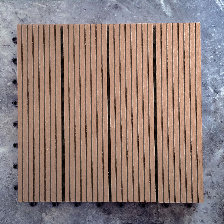 Outdoor-Plastic Composite Interlocking Decking Tile - Dark Brown (Set of 11 tiles)