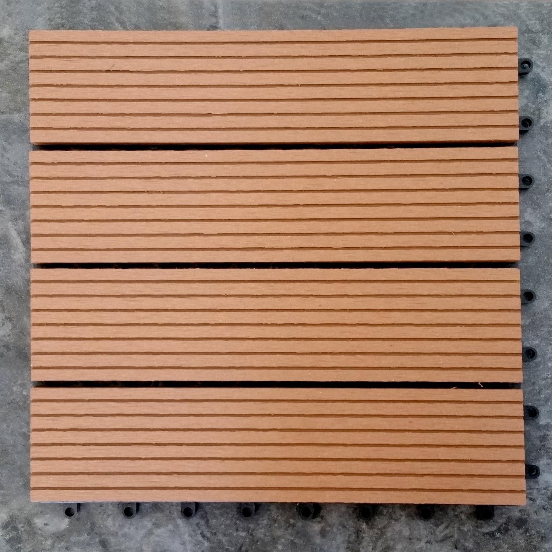 Outdoor-Plastic Composite Interlocking Decking Tile - Light Brown (Set of 11 tiles)