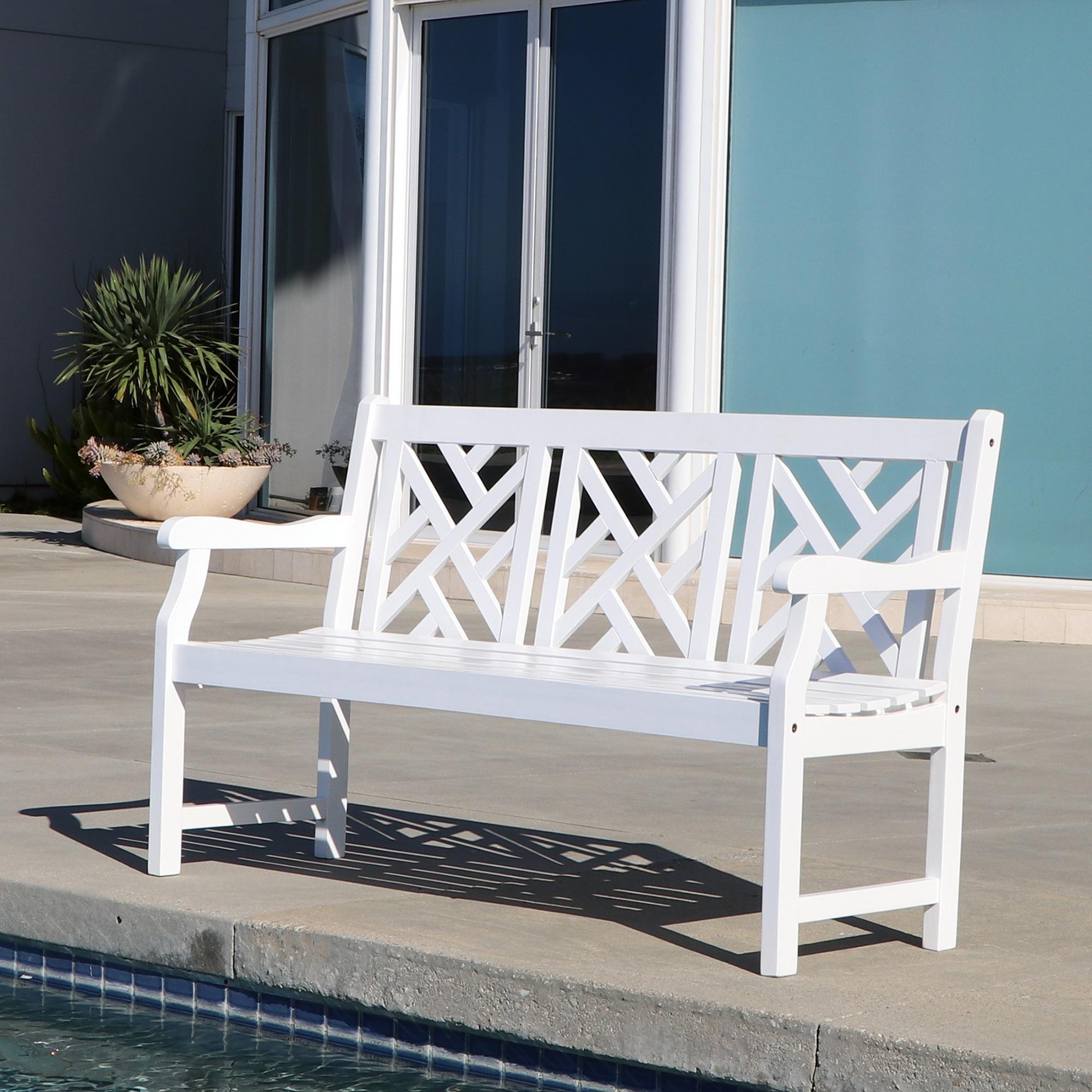 Bradley Outdoor Patio 5-foot Wood Garden Bench in White