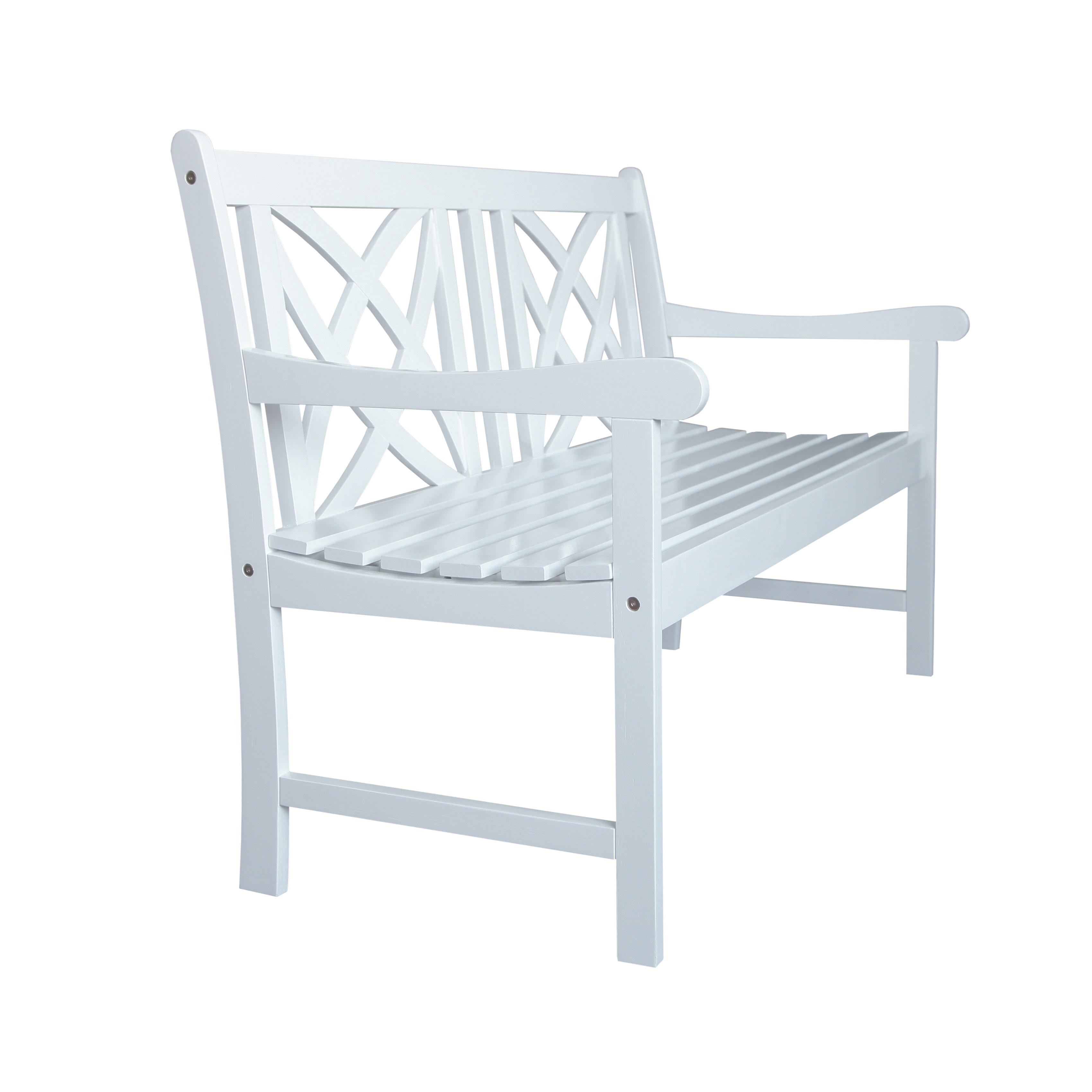 Bradley Outdoor Patio 4-foot Wood Garden Bench in White