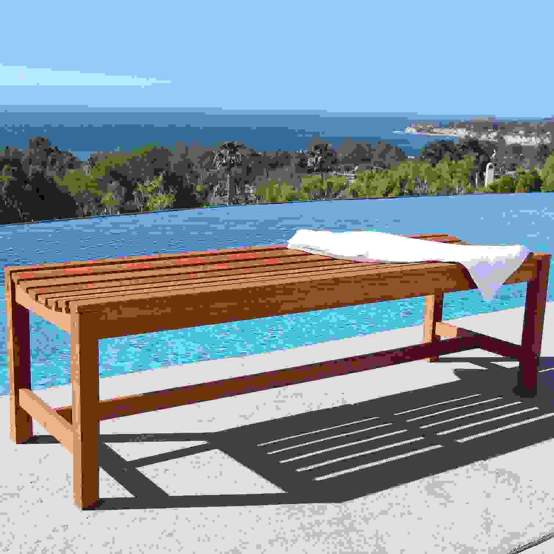 Malibu Outdoor Patio 5-foot Wood Backless Garden Bench