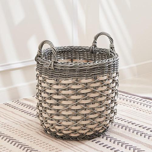 Valeria 11-Inch Resin Round Storage Plant Pot Basket Set with Handles- Size S - Set of 2