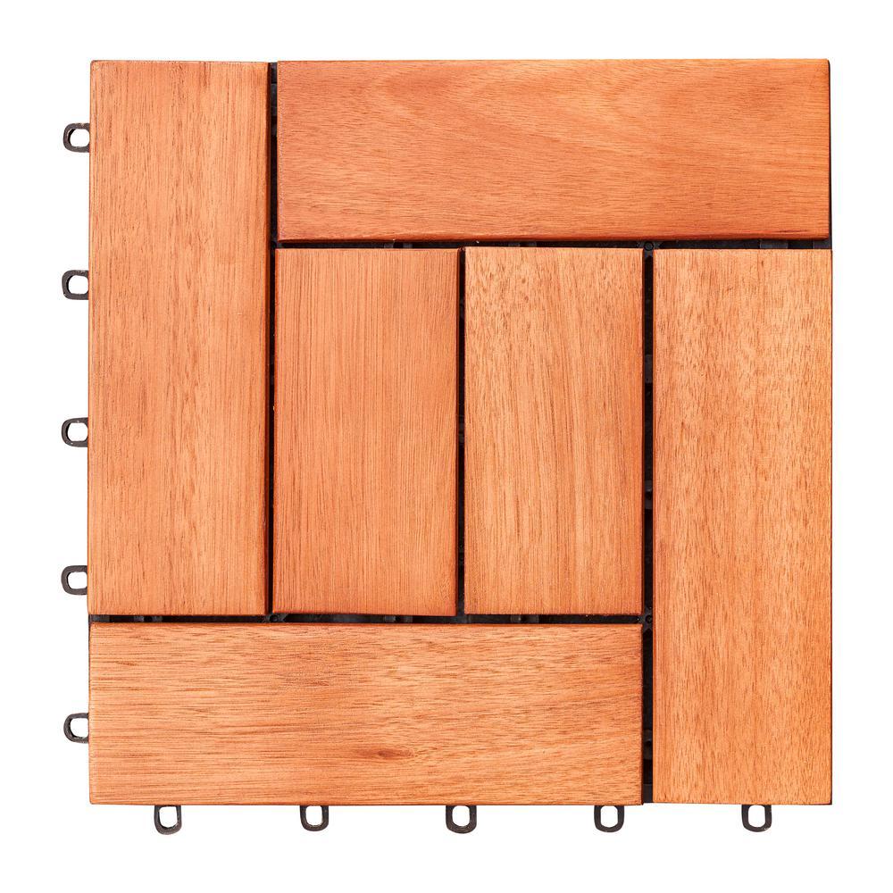 Hanalei Eucalyptus Interlocking Wooden Decktile in Red Brown