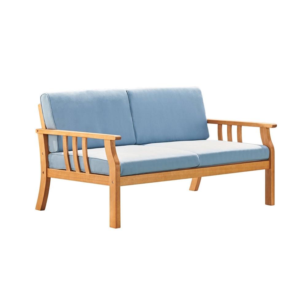 Kapalua Honey Nautical Eucalyptus Wooden Outdoor Sofa Bench with Cushion