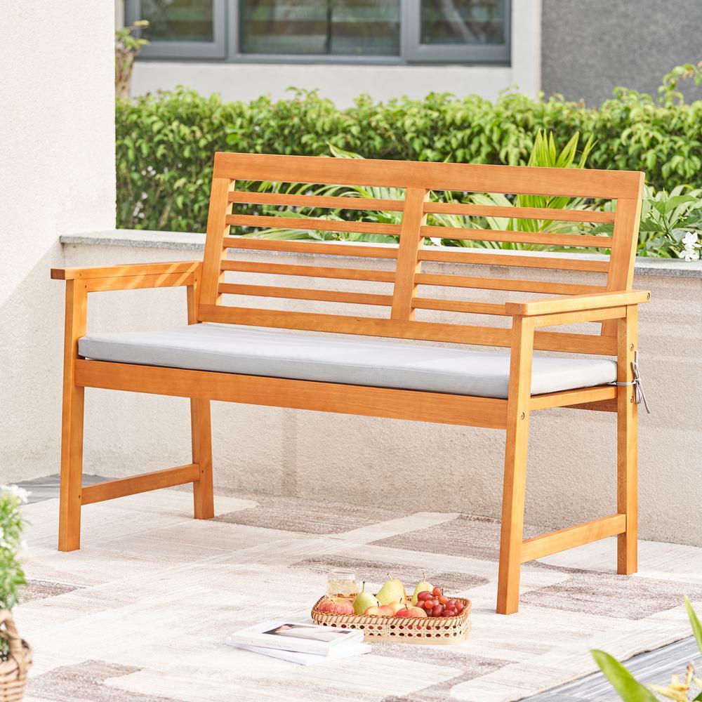 Waimea Honey Slatted Eucalyptus Wood Garden Bench with Cushion