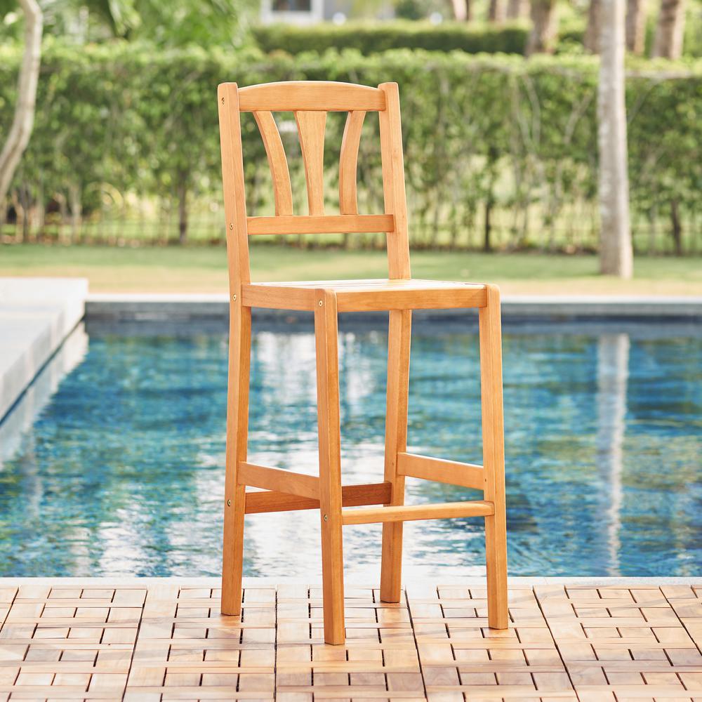 Kapalua Honey Nautical Eucalyptus Wooden Outdoor Bar Chair