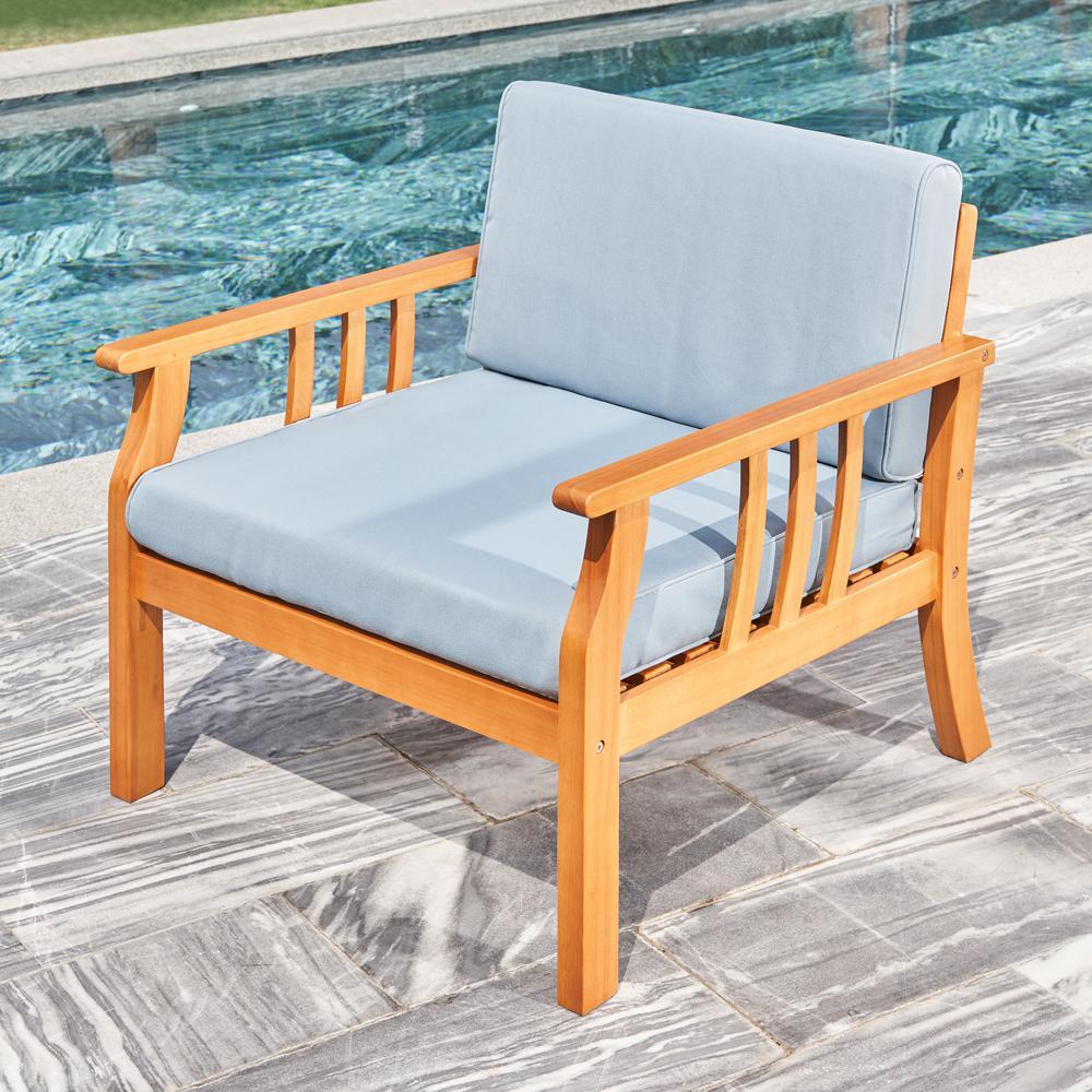 Kapalua Honey Nautical Curve Eucalyptus Wooden Outdoor Sofa Chair with Cushion