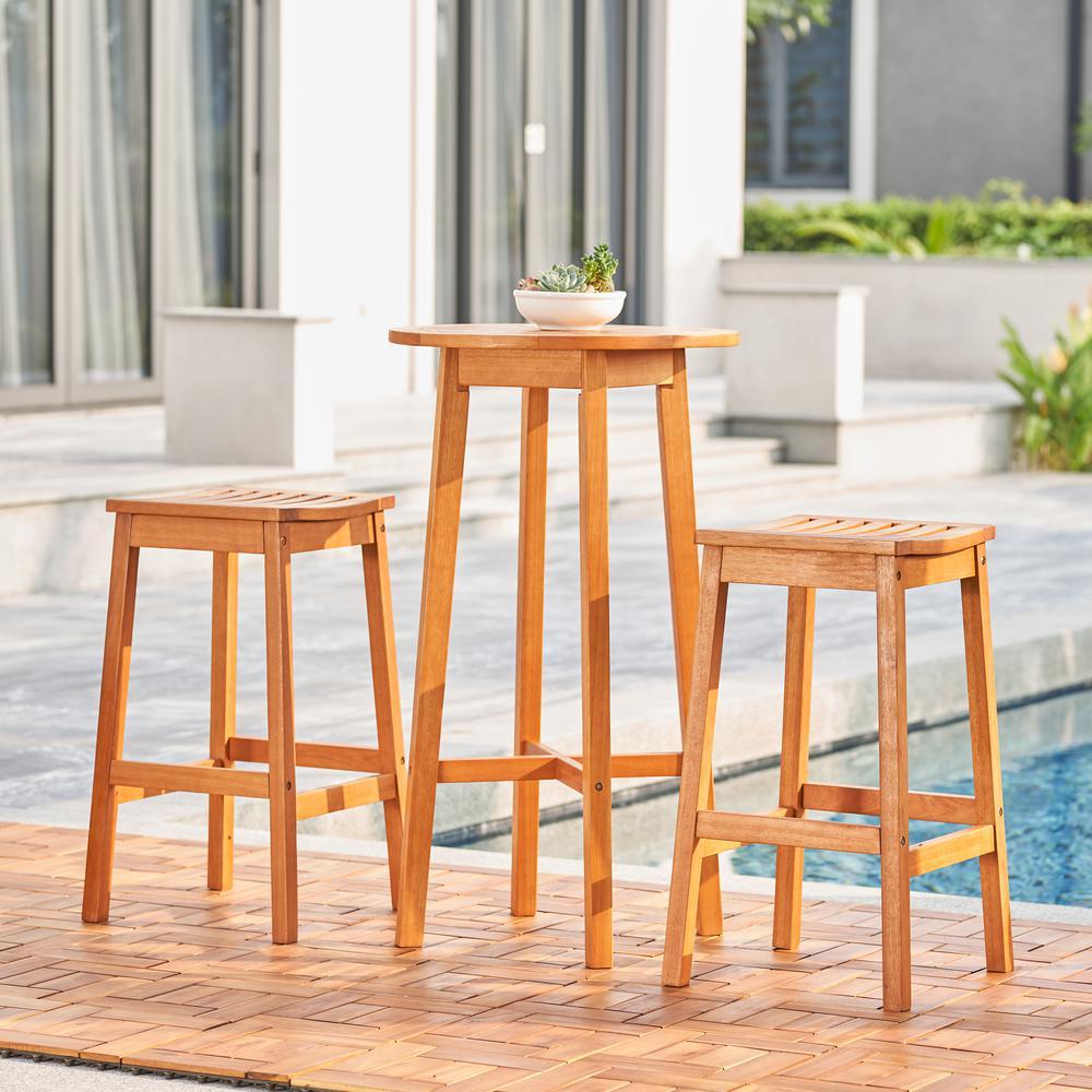 Kapalua Honey 3-piece Nautical Eucalyptus Wodden Outdoor Bar Set