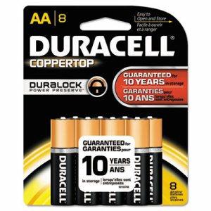 CopperTop Alkaline Batteries with Duralock Power Preserve Technology, AA, 8/Pk