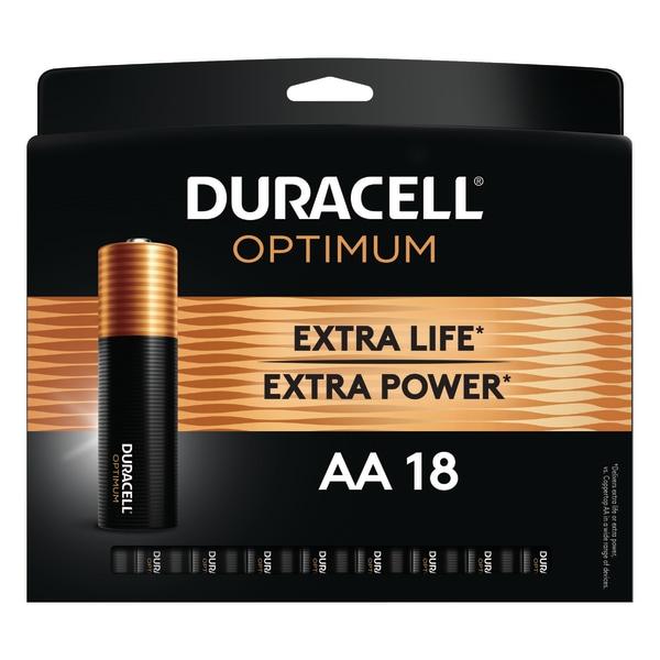 Optimum Alkaline AA Batteries, 18/Pack