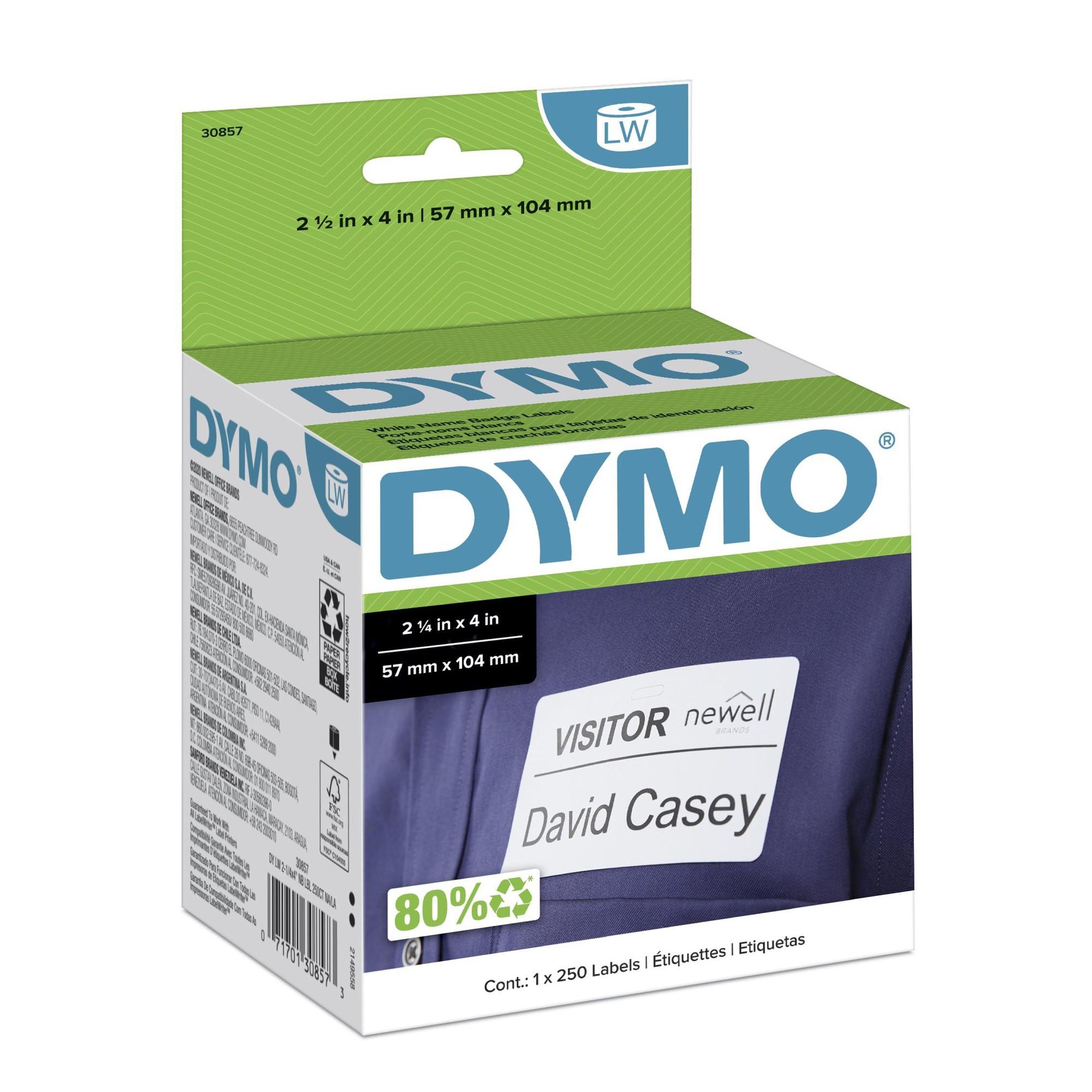 Self-Adhesive Name Badge Labels, 2-1/4 x 4, White, 250/Box