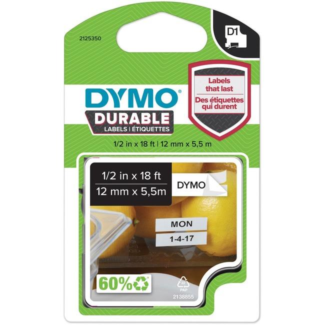 "D1 Durable Labels, 0.5"" x 18 ft, Black on White"
