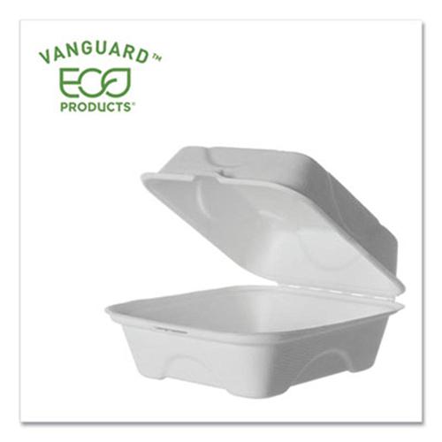 Vanguard Renewable and Compostable Sugarcane Clamshells, 1-Compartment, 6 x 6 x 3, White, 500/Carton