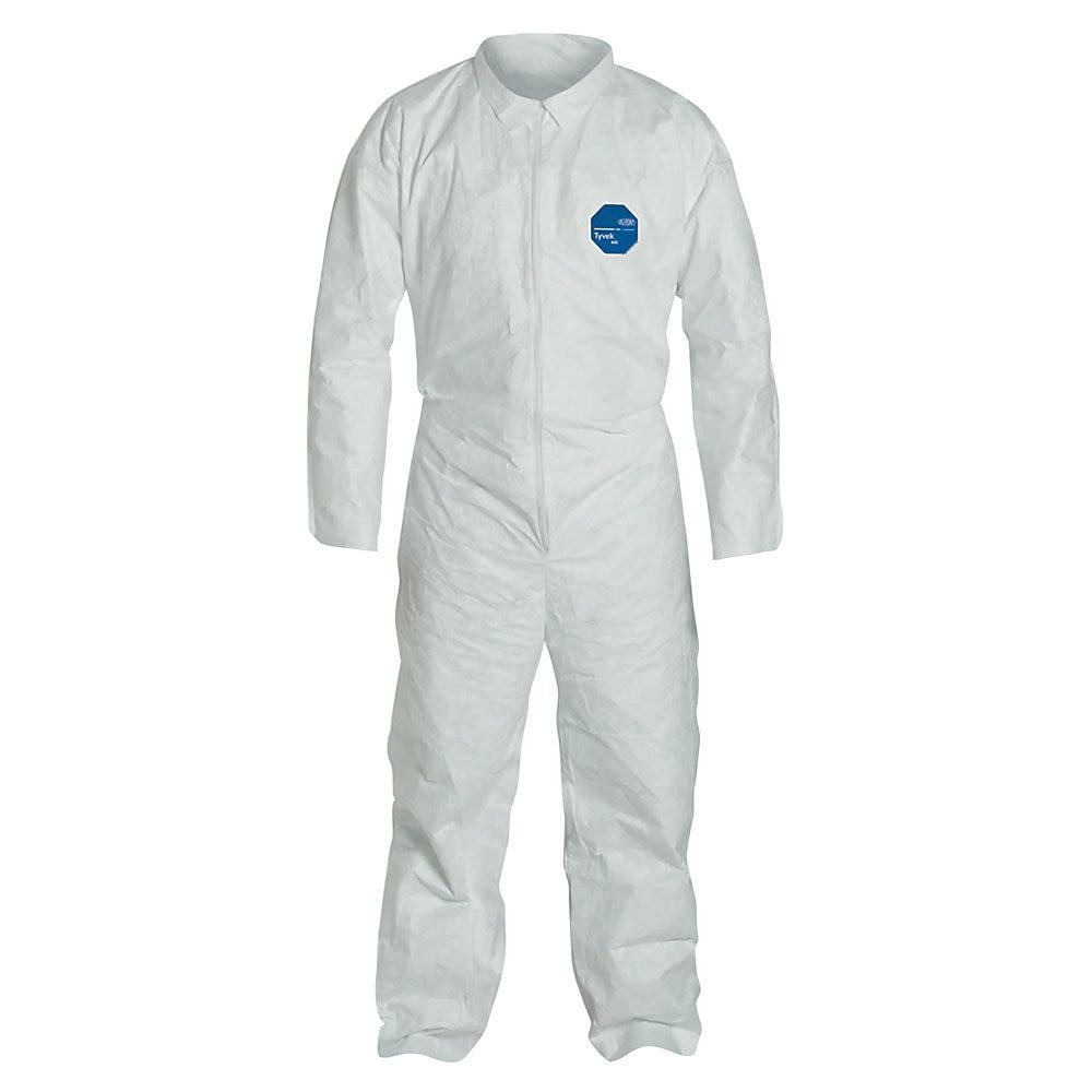 Tyvek Coveralls, Open Wrist/Ankle, HD Polyethylene, White, Large, 25/Carton