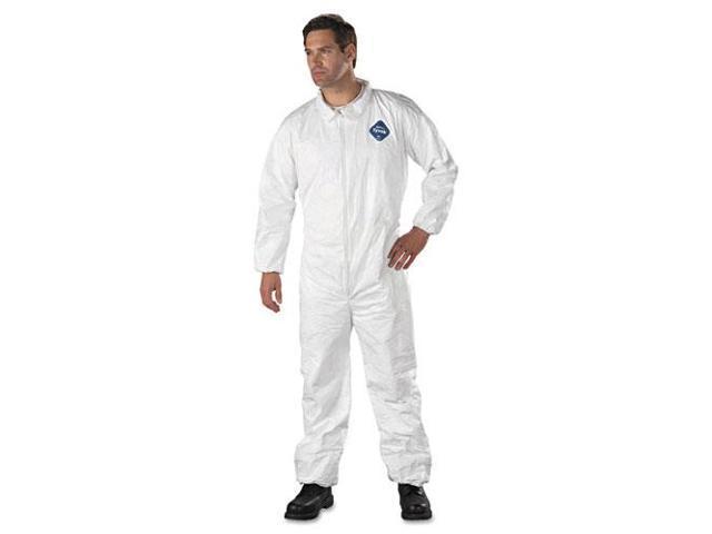 Tyvek Elastic-Cuff Coveralls, HD Polyethylene, White, Large, 25/Carton