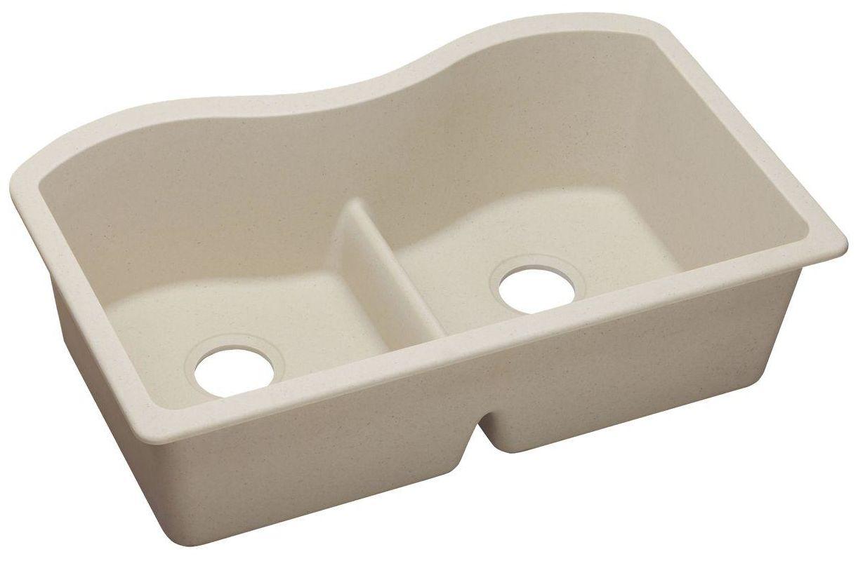 QUARTZ Classic 33 x 20 x 9-1/2 Double Bowl Undermount Sink with Aqua Divide  Putty