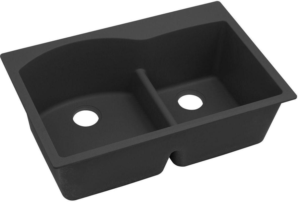 QUARTZ Classic 33 x 22 x 10 Double Bowl Top Mount Sink with Aqua Divide