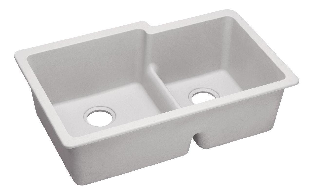 QUARTZ Classic 33 x 20-1/2 x 9-1/2 Double Bowl Undermount Sink with Aqua Divide  White
