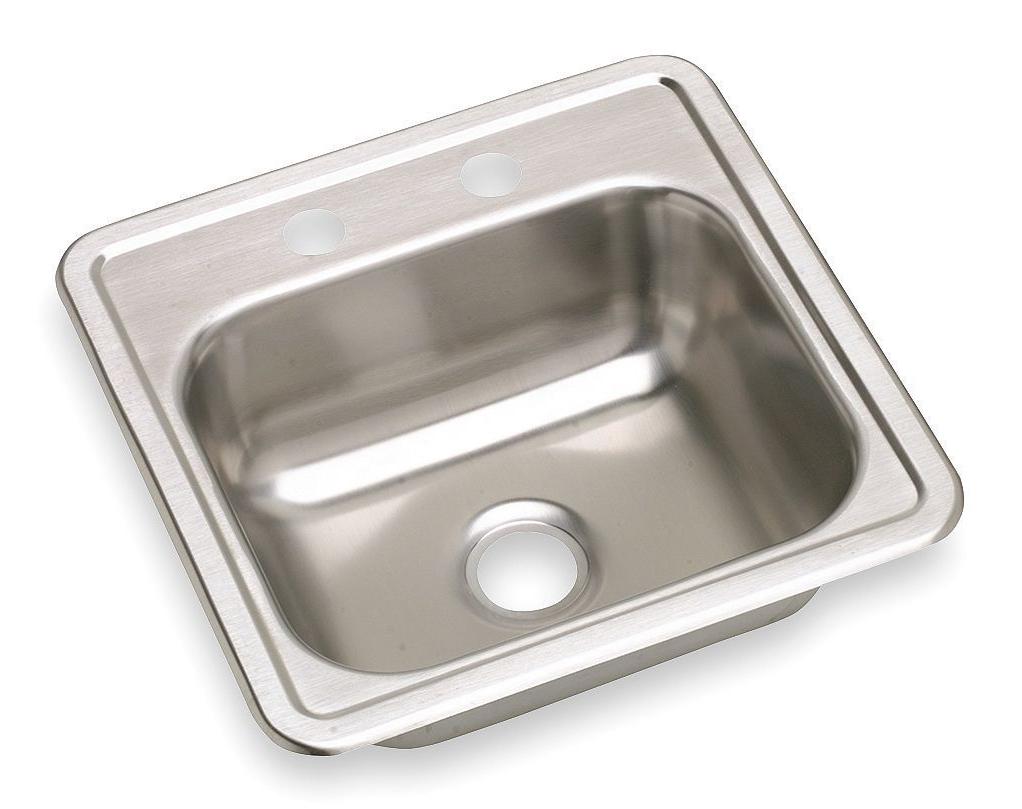 """Dayton 15"""" x 15"""" Single Bowl Top Mount Bar Sink, Stainless Steel"""