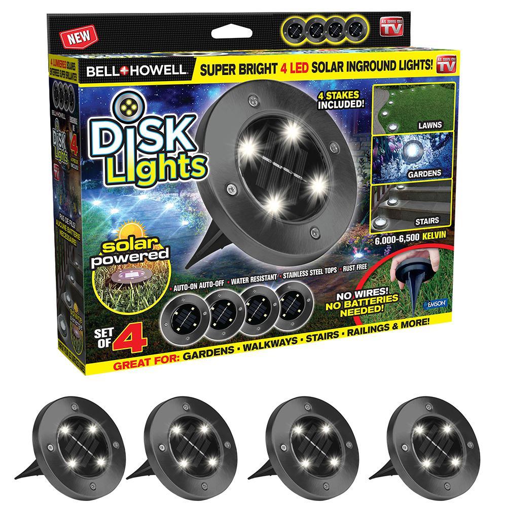 LIGHT DISK LED SOLAR SS 4PK