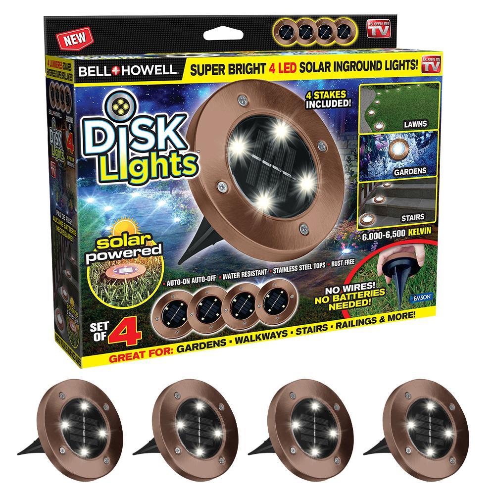 LIGHT DISK LED SOLAR BRNZ 4PK