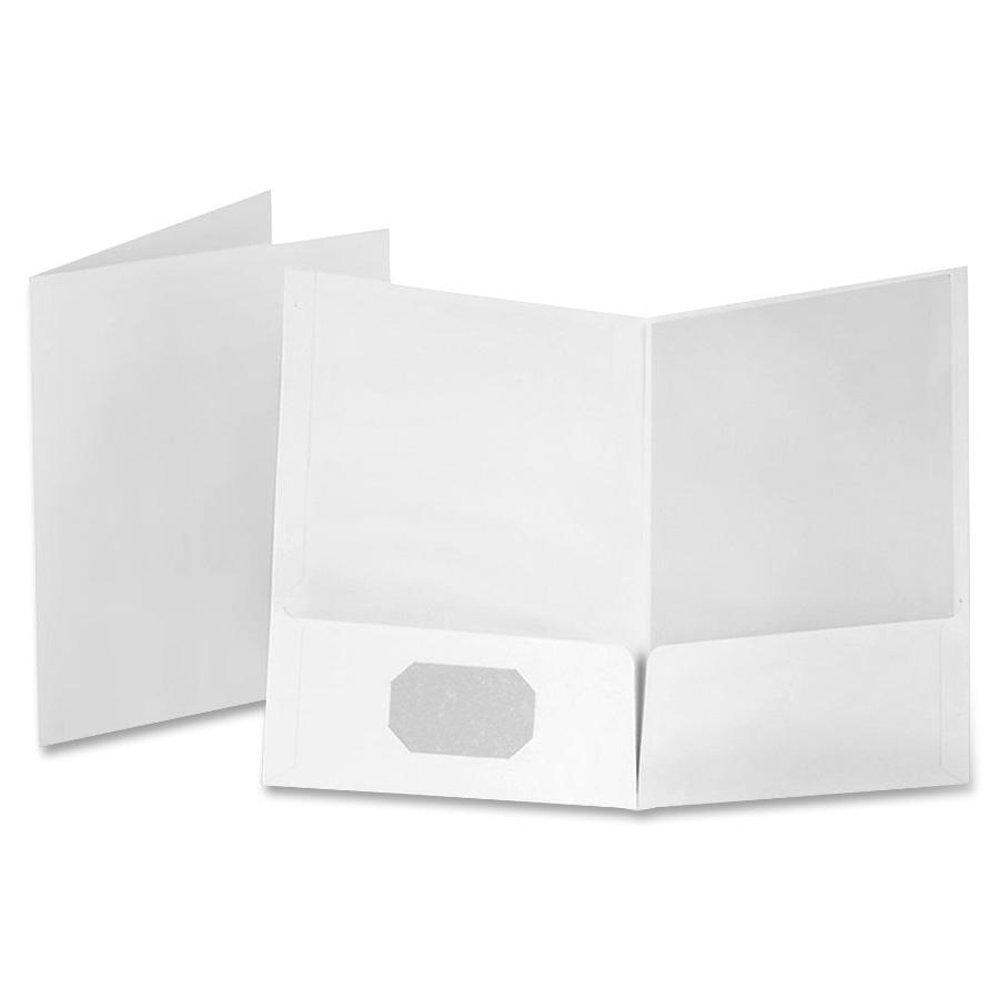 Linen Finish Twin Pocket Folders, Letter, White, 25/Box