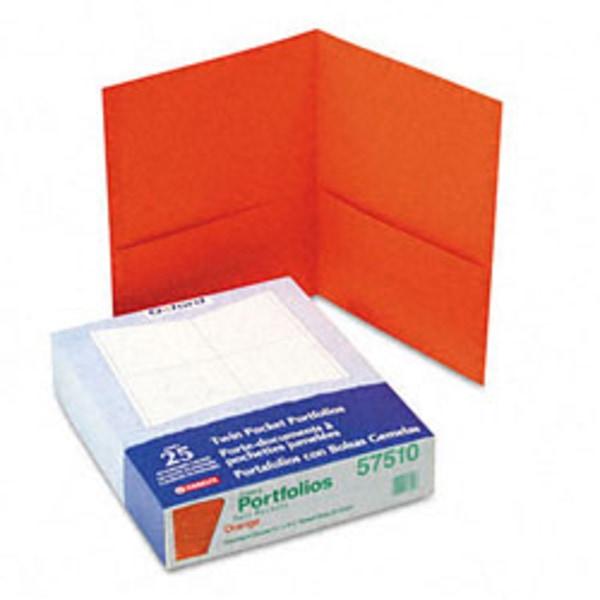 Twin-Pocket Folder, Embossed Leather Grain Paper, Orange, 25/Box