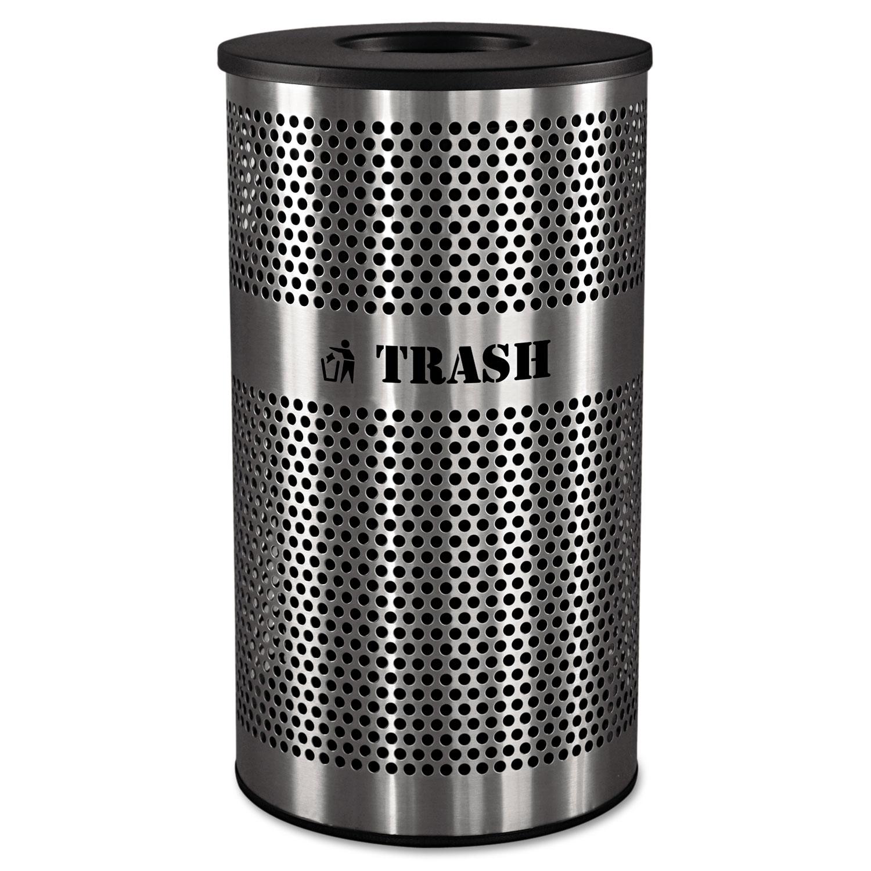 Stainless Steel Trash Receptacle, 33gal, Stainless Steel