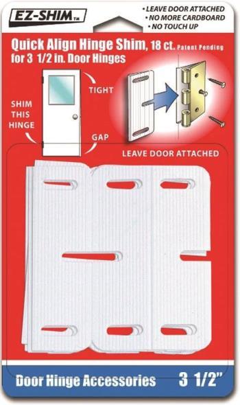 EZ Shim HS350BP Quick Align Hinge Shim, 3-1/2 in L x 1/16 in T, High Impact Plastic, White