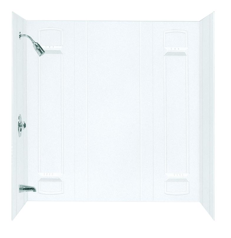 DURAWALL� FIBERGLASS BATHTUB WALL KIT, 5 PIECES, 4 SHELVES, WHITE, 32 X 60 IN.