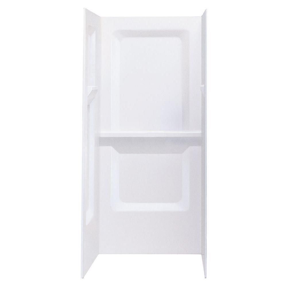 DURAWALL� FIBERGLASS SHOWER WALL KIT, 3 PIECES, 3 SHELVES, WHITE, 32 X 32 IN.