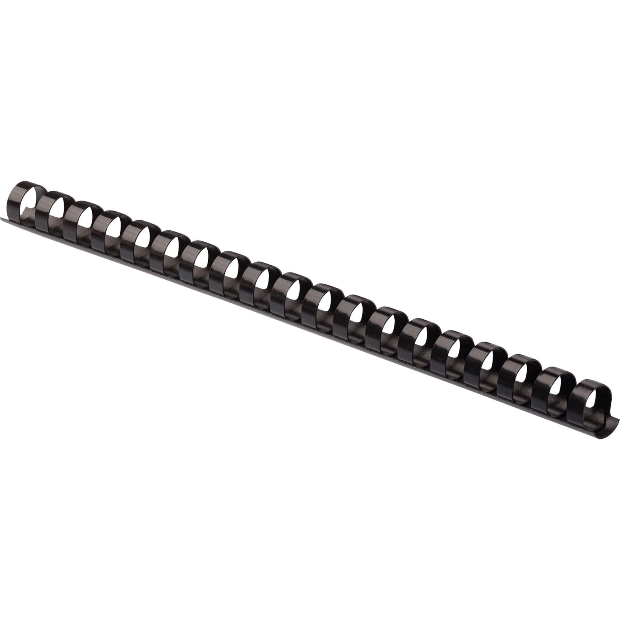 """Plastic Comb Bindings, 5/8"""" Diameter, 120 Sheet Capacity, Black, 100 Combs/Pack"""