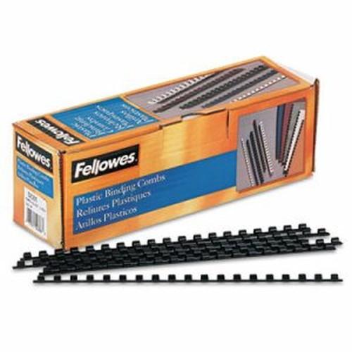 """Plastic Comb Bindings, 1/4"""" Diameter, 20 Sheet Capacity, Black, 100 Combs/Pack"""