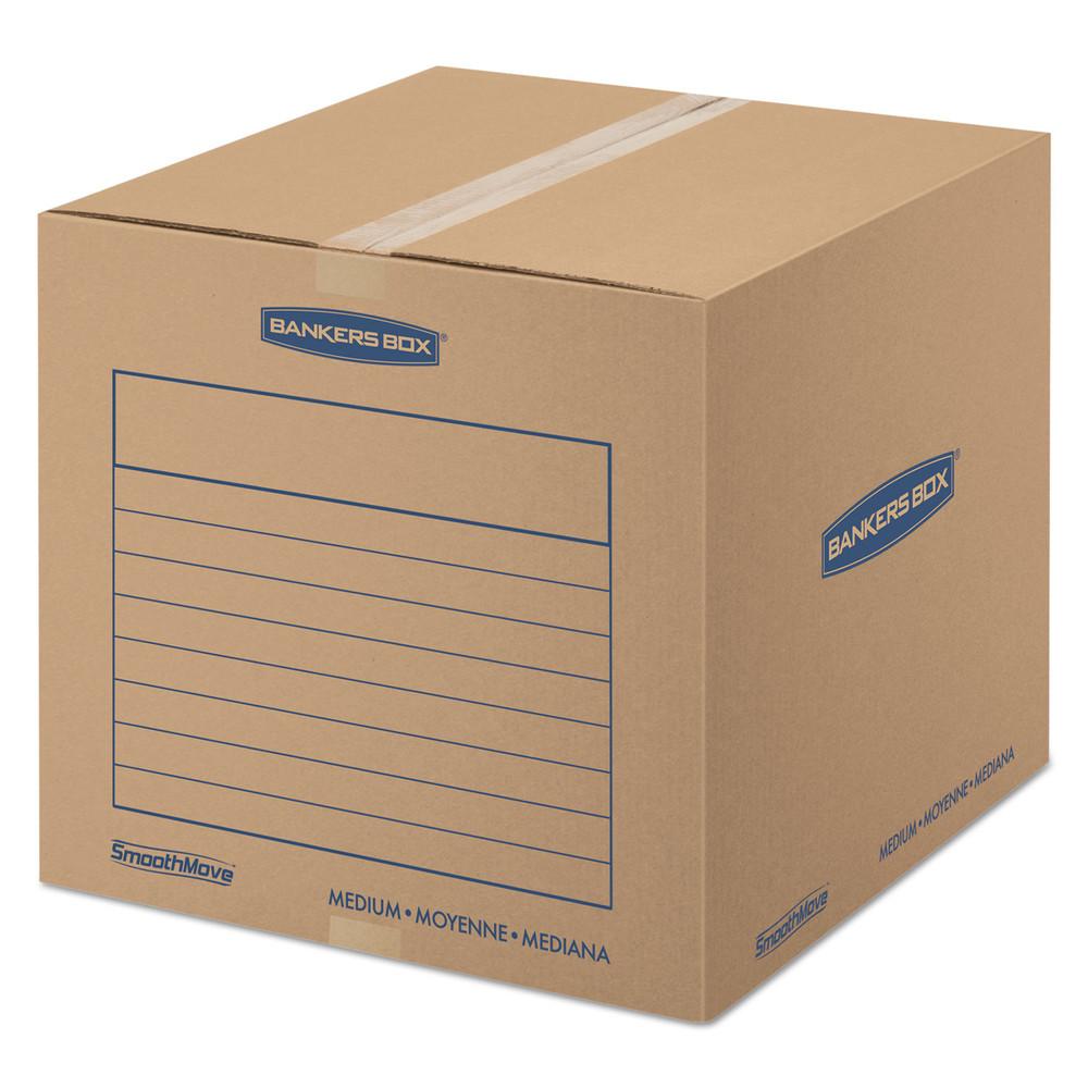 SmoothMove Basic Medium Moving Boxes, 18l x 18w x 16h, Kraft/Blue, 20/BD