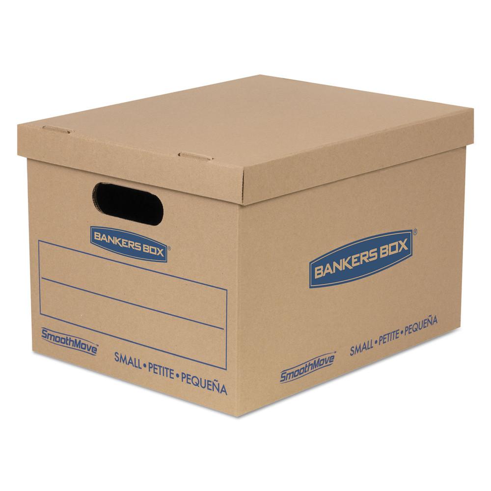 SmoothMove Classic Small Moving Boxes, 15l x 12w x 10h, Kraft/Blue, 10/Carton