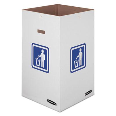 "Waste and Recycling Bin, 42 gal, 18"" x 18"" x 30"", White, 10/Carton"