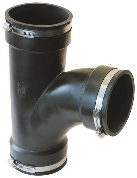 Fernco PQT-400 Flexible Multi-Purpose Pipe Tee, 4 in, Elastomeric PVC
