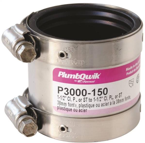 Pro-Flex 3000 Flexible Shielded Pipe Transition Coupling, 1-1/2 in x 2.13 in, 4.3 psi, SCH 40, PVC