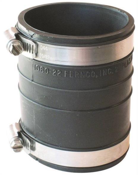 Fernco 1060 Flexible Pipe Coupling, 2 in x 3.95 in, Plastic Socket, 4.3 psi, PVC