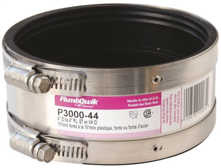 Pro-Flex 3000 Flexible Shielded Pipe Transition Coupling, 4 in x 2-1/8 in, 4.3 psi, PVC
