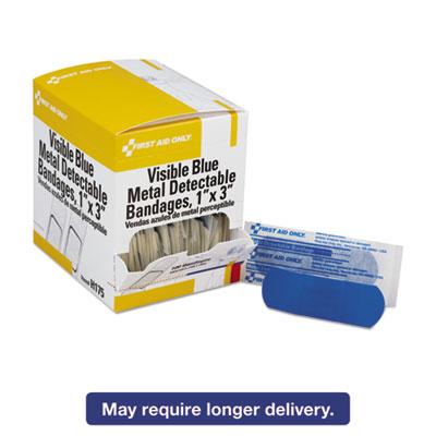 Adhesive Blue Metal Detectable Bandages, 1 x 3, Plastic w/Foil, 100/Box
