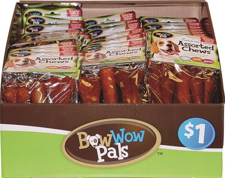 Bow Wow Pals 8825 Assorted Shape Pet Bone Chew, 3 Pack
