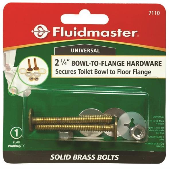 Fluidmaster 7110 Toilet Bolt, 2-1/4 in, Solid Brass, Antique Brass