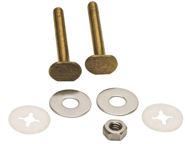 Fluidmaster 7111 Toilet Bolt, 3-1/2 in, Solid Brass, Solid Brass